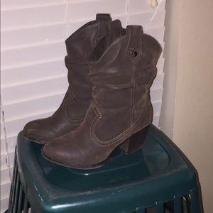 Dark Brown Suede Boots.